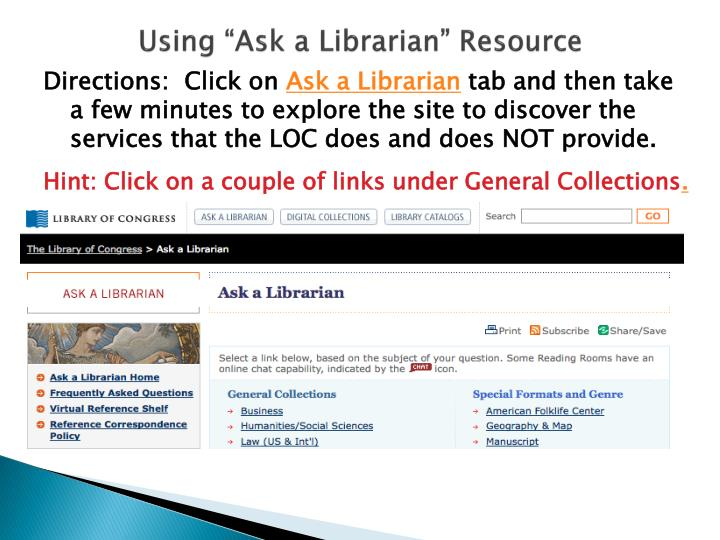 "Using ""Ask a Librarian"" Resource"