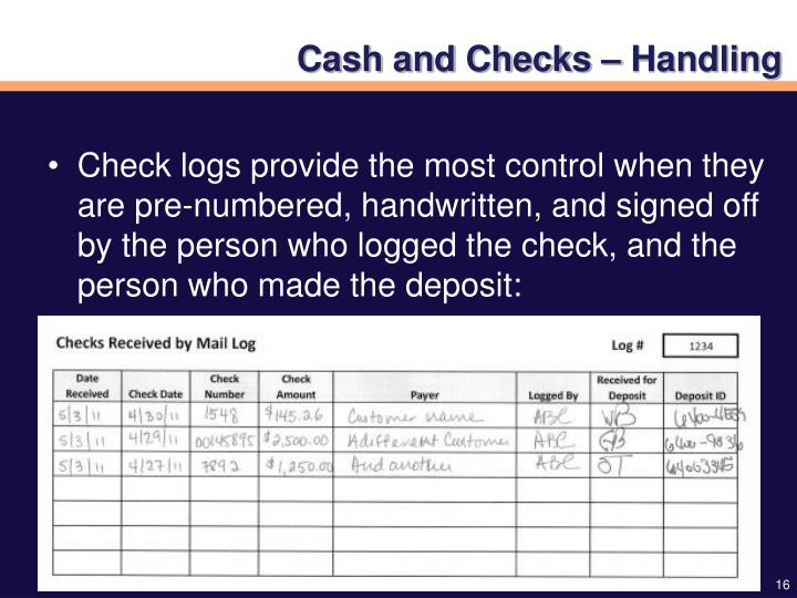 Cash and Checks – Handling