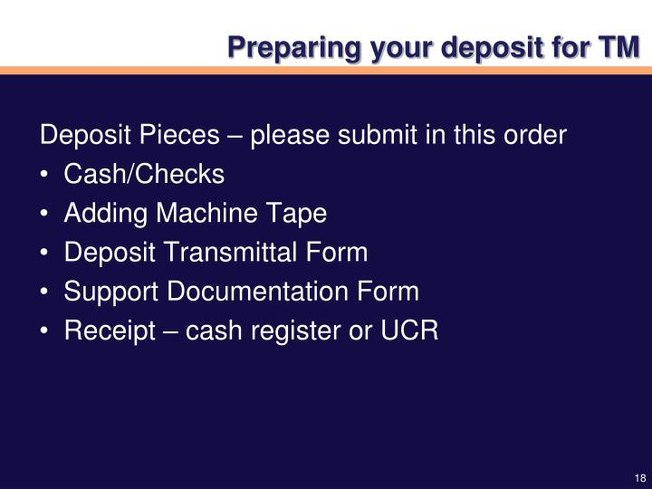 Preparing your deposit for TM