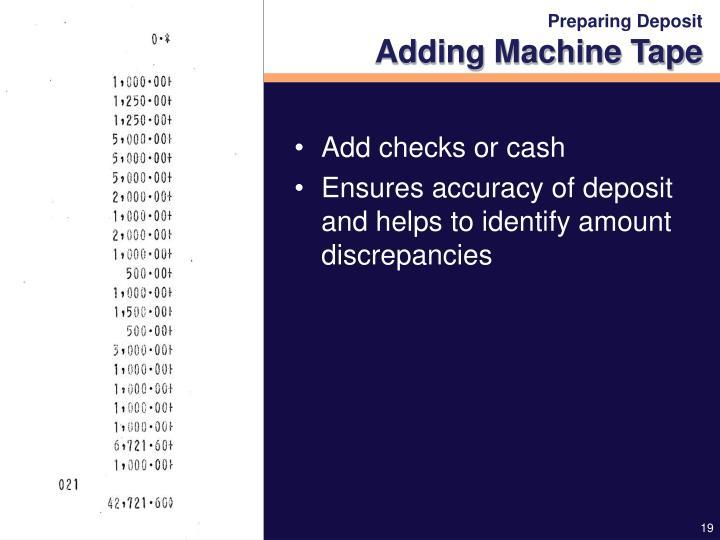 Preparing Deposit