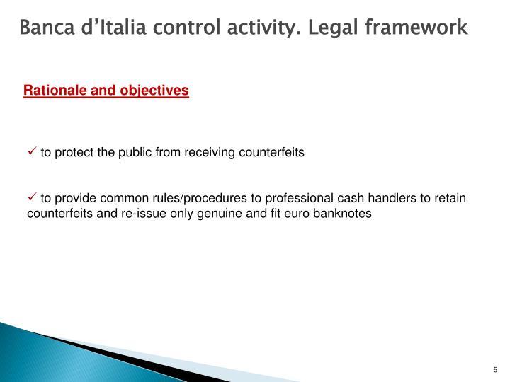Banca d'Italia control activity. Legal framework