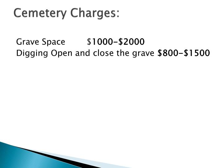 Cemetery Charges: