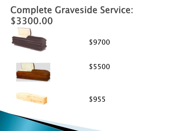 Complete Graveside Service: $3300.00