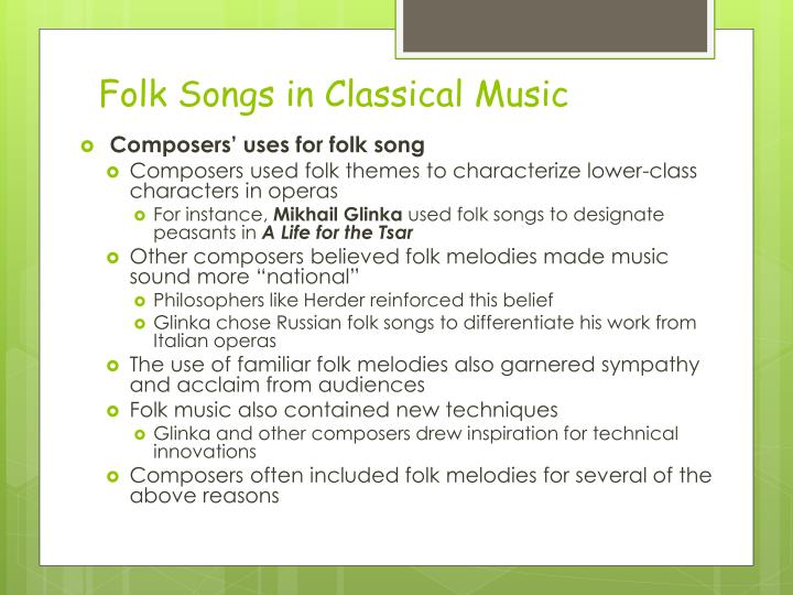 Folk Songs in Classical Music