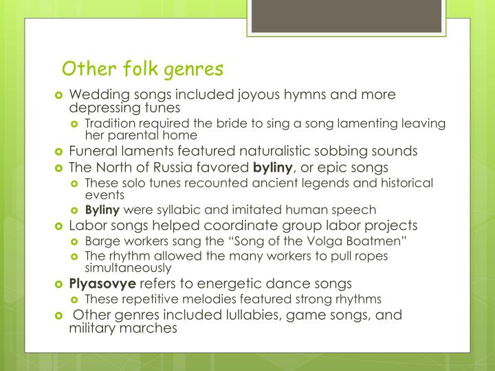 Other folk genres