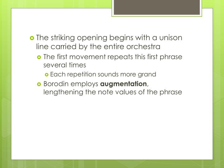 The striking opening begins with a unison