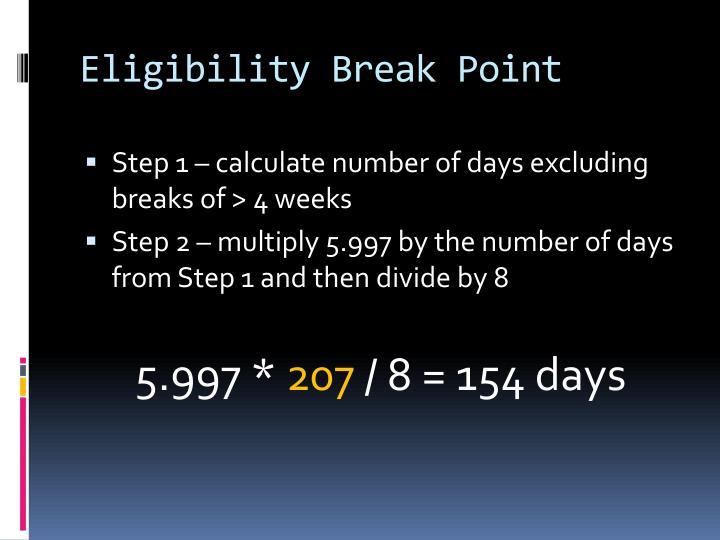Eligibility Break Point