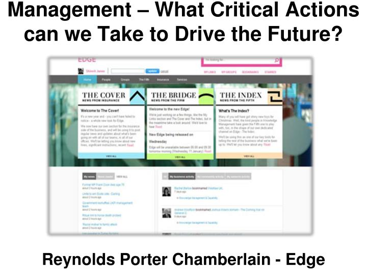 Management – What Critical Actions can we Take to Drive the Future?