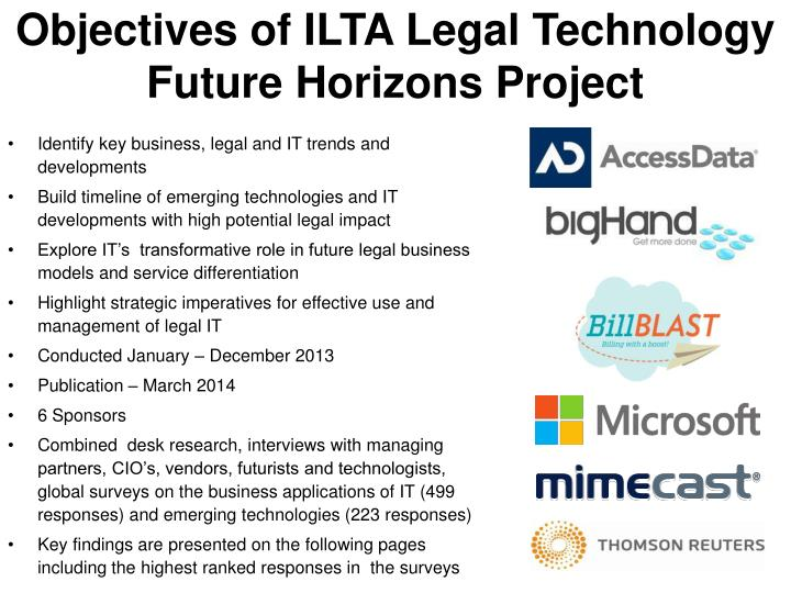 Objectives of ilta legal technology future horizons project