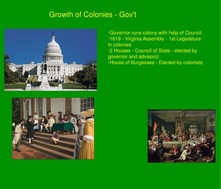 Growth of Colonies - Gov't
