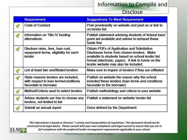 Information to Compile and Disclose