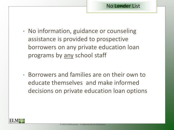 No Lender List