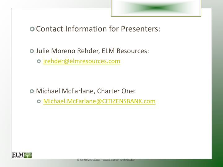 Contact Information for Presenters: