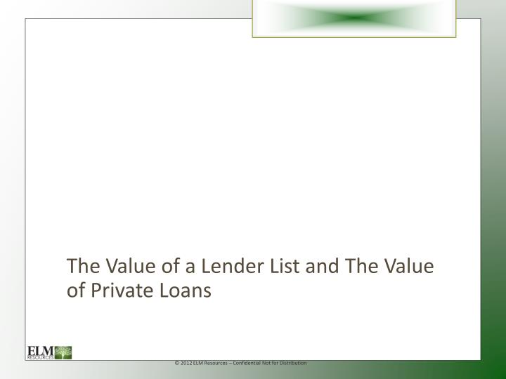 The Value of a Lender List and