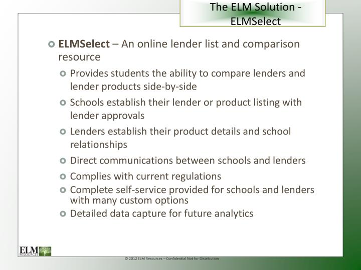 The ELM Solution - ELMSelect