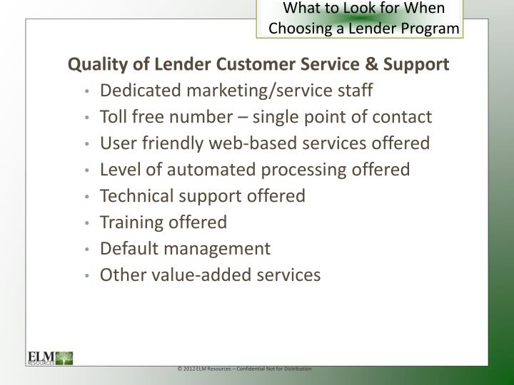 What to Look for When Choosing a Lender Program