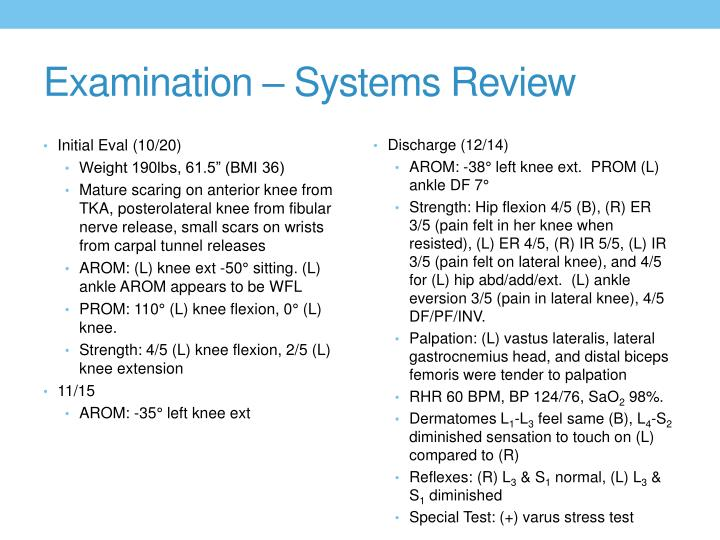 Examination – Systems Review