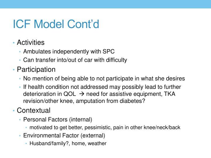 ICF Model Cont'd
