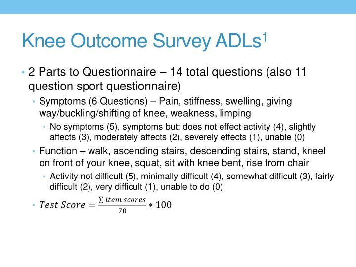 Knee Outcome Survey ADLs