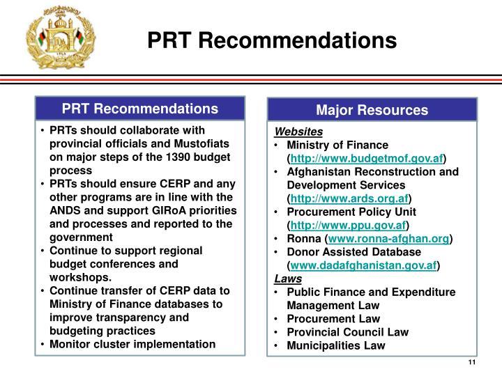 PRT Recommendations