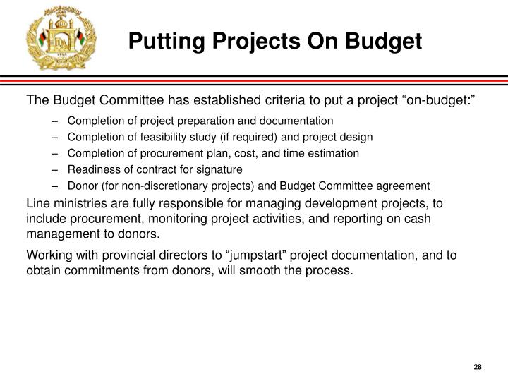 Putting Projects On Budget