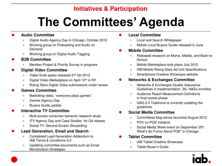 The committees agenda