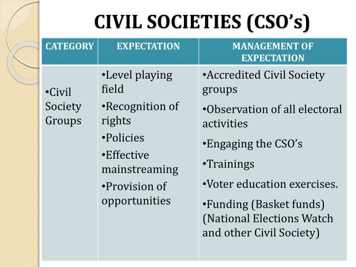 CIVIL SOCIETIES (CSO's)