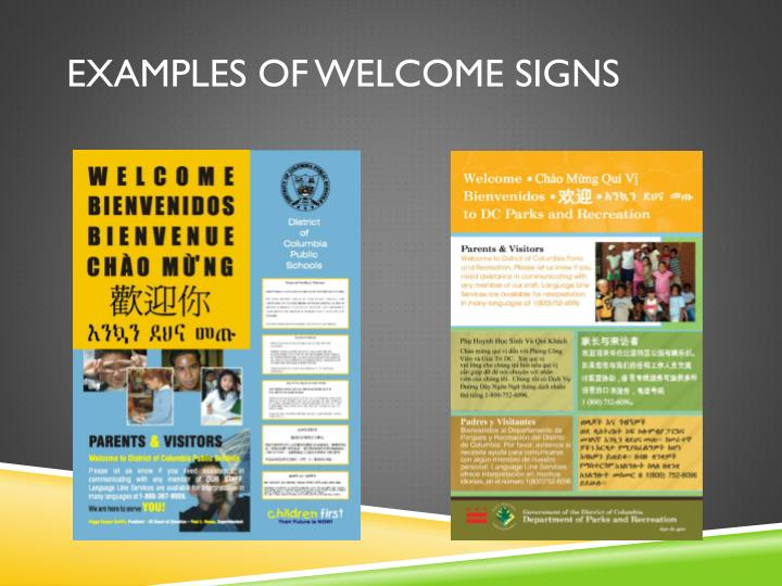 Examples of Welcome Signs