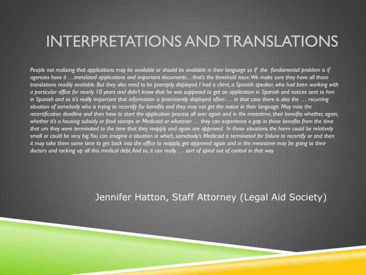 Interpretations and Translations