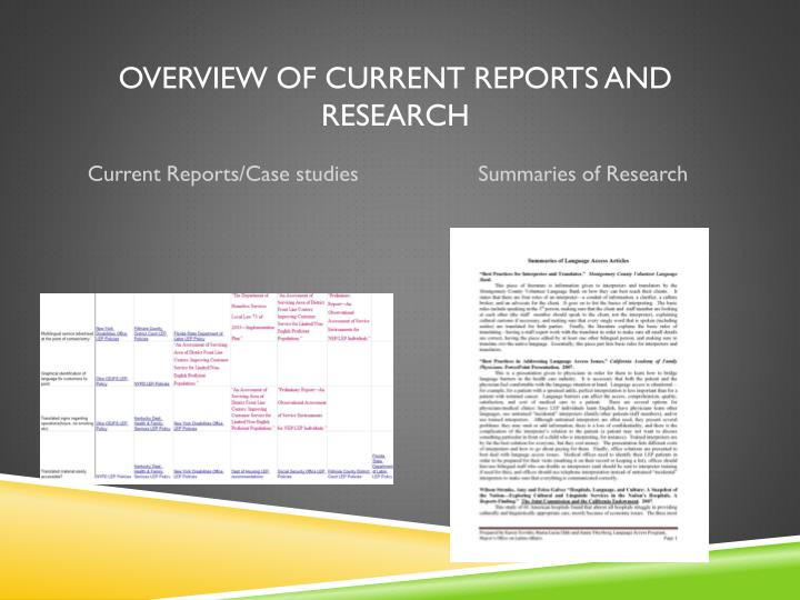 Overview of Current Reports and Research