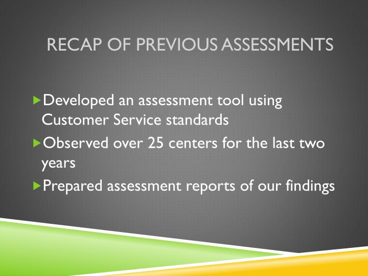 Recap of previous assessments