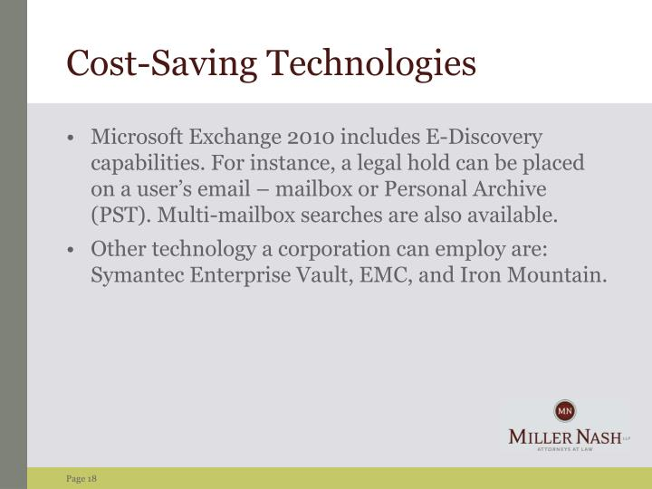 Cost-Saving Technologies