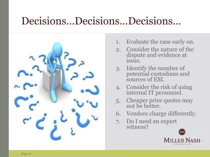 Decisions…Decisions…Decisions…