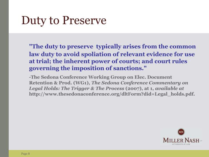 Duty to Preserve