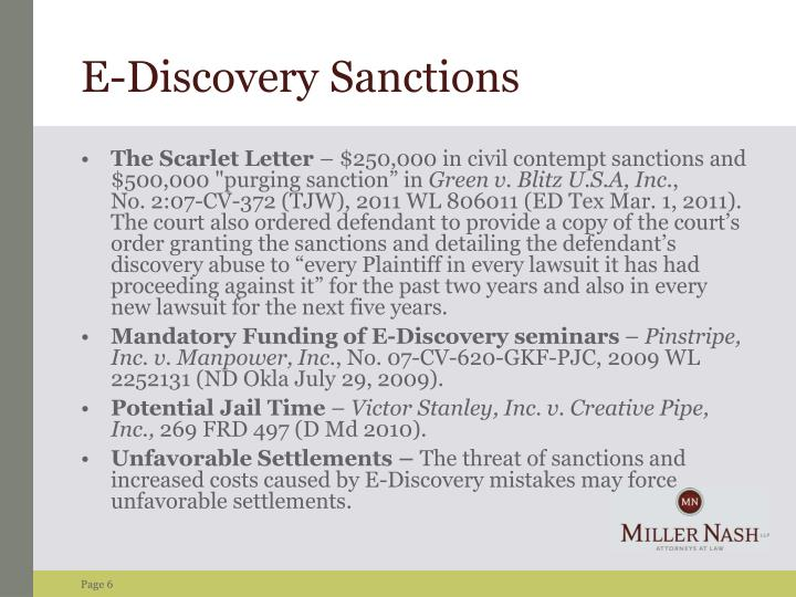 E-Discovery Sanctions