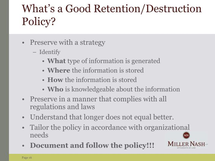What's a Good Retention/Destruction Policy?