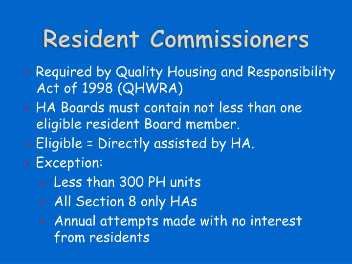 Resident Commissioners