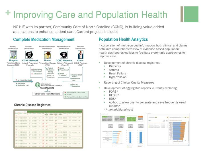 Improving Care and Population Health