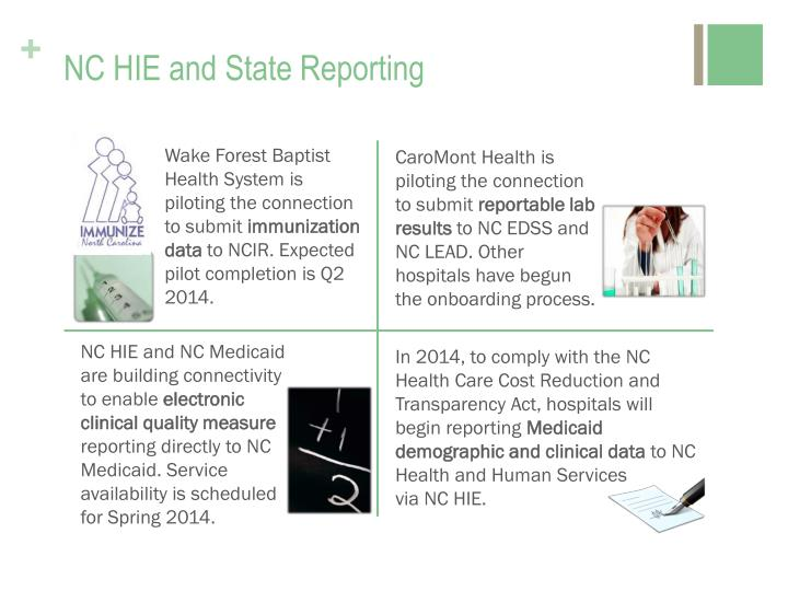 NC HIE and State Reporting