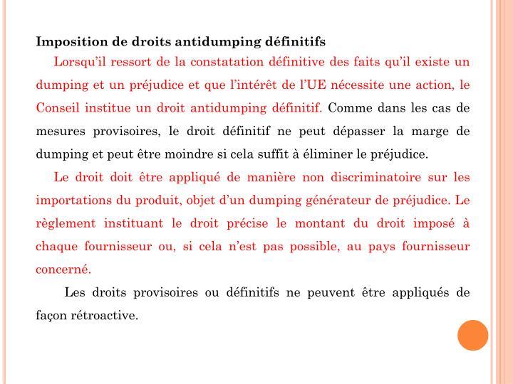 Imposition de droits antidumping définitifs