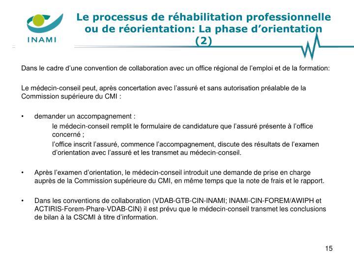 Le processus de réhabilitation professionnelle ou de réorientation: La phase d'orientation (2)
