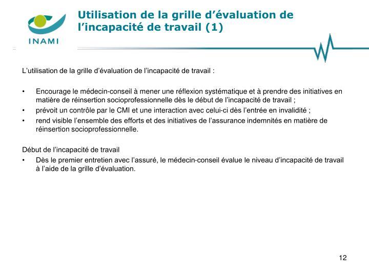 Utilisation de la grille d'évaluation de l'incapacité de travail (1)