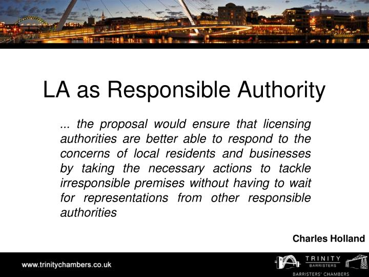 LA as Responsible Authority
