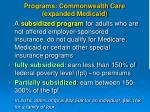 programs commonwealth care expanded medicaid