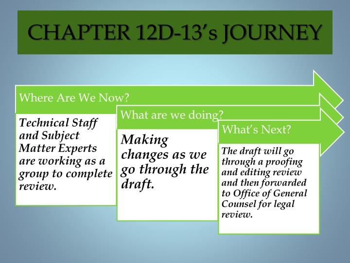 CHAPTER 12D-13's JOURNEY
