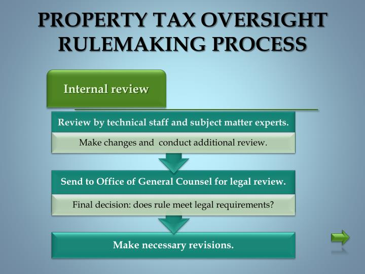 PROPERTY TAX OVERSIGHT RULEMAKING PROCESS