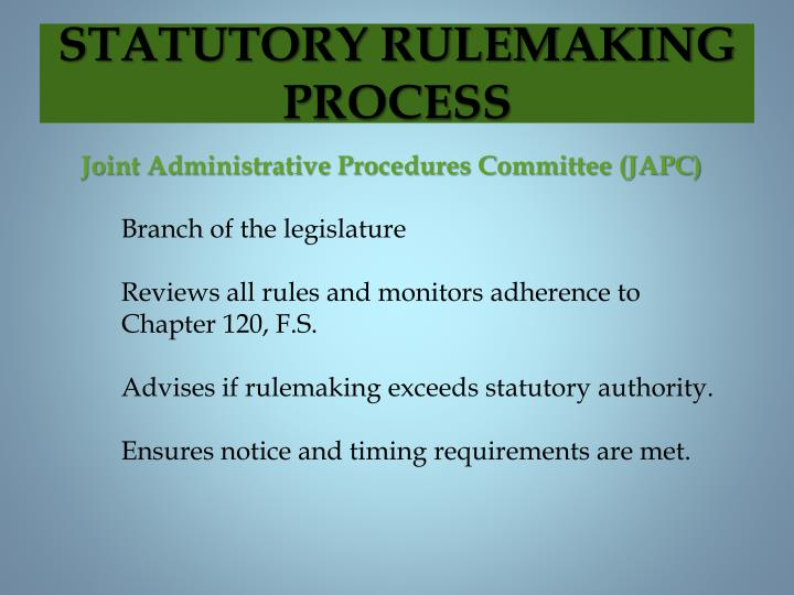 STATUTORY RULEMAKING PROCESS