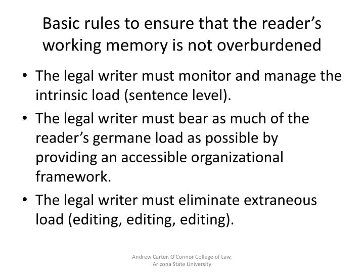 Basic rules to ensure that the reader's working memory is not overburdened