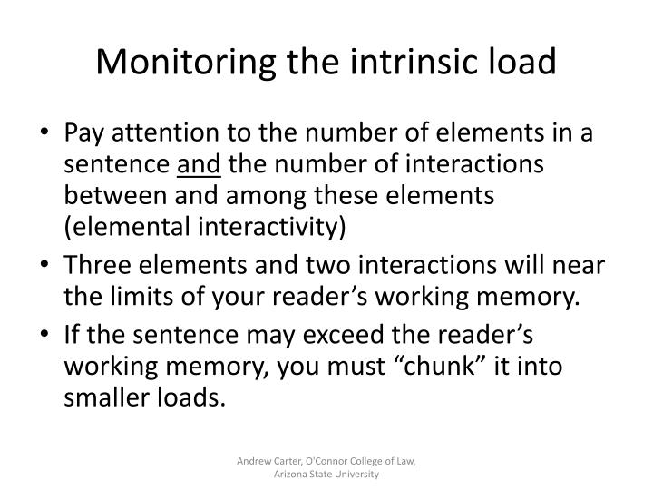 Monitoring the intrinsic load