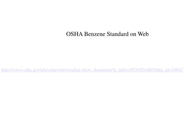 OSHA Benzene Standard on Web